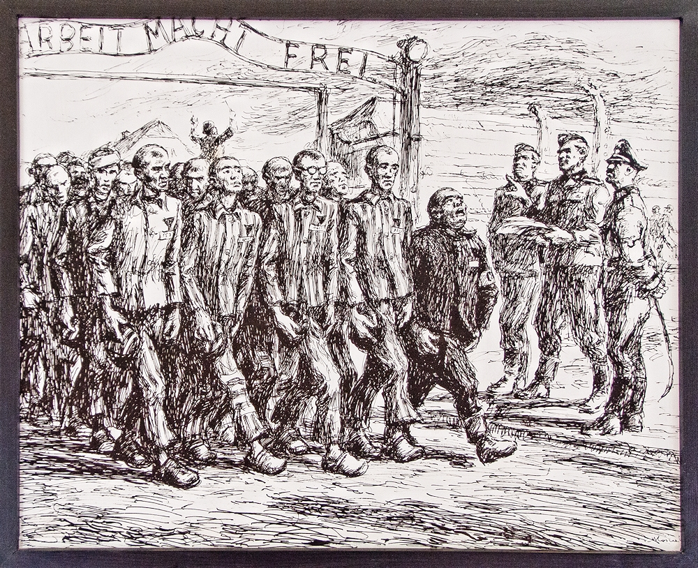 """Arbeit macht frei"" means freedom through labour. Or Work will set you free."