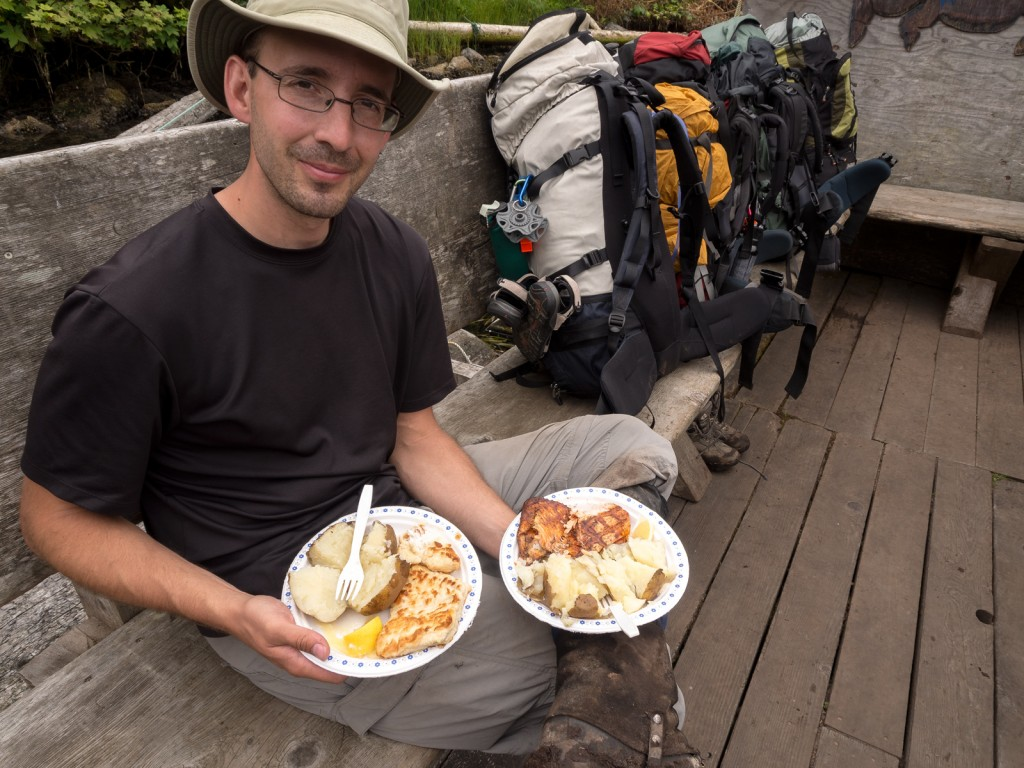 BBQ Salmon and Panfried Halibut, Ninat Narrows Ferry, West Coast Trail